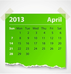 2013 calendar april colorful torn paper vector