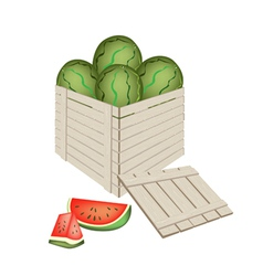 Fresh red watermelons in wooden cargo box vector