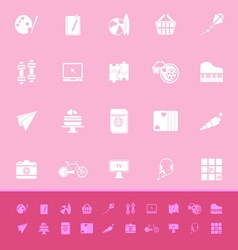 Hobby color icons on pink background vector