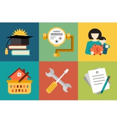 Set of modern icons in style flat on social issues vector