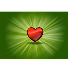 Red shining heart on the green background vector