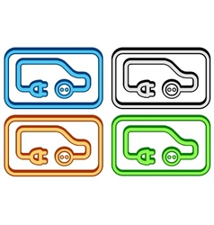 Set electric car icon vector