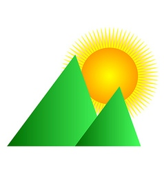 Mountain sunrise logo vector