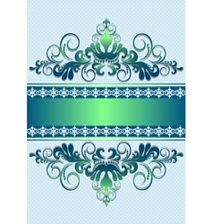 Satin green ornament with stripes and ribbon vector