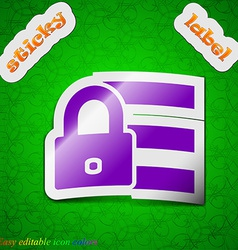 Lock login icon sign symbol chic colored sticky vector