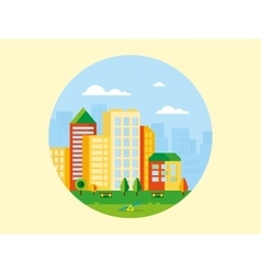 City landscape with playground in front of it vector