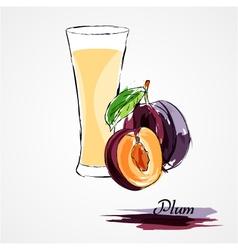 Plum juice vector