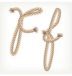 Rope alphabet letter f vector