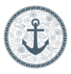 Anchor and seashells vector
