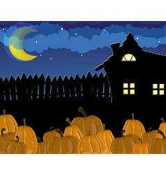 Pumpkins and house with glowing windows vector