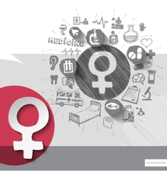 Hand drawn woman sex icons with icons background vector