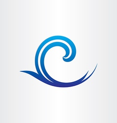 Sea or ocean blue wave abstract icon vector
