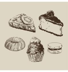 Sketch cakes vector