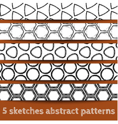 Set of sketches geometric seamless patterns vector