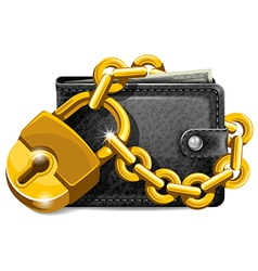 Wallet with lock vector