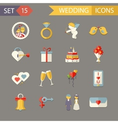 Flat wedding symbols bride groom marriage vector