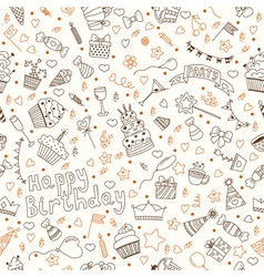 Hand drawn seamless pattern with birthday elements vector