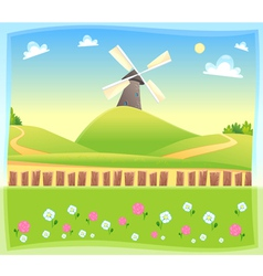 Funny landscape with windmill vector