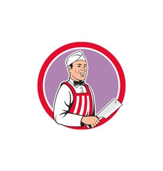 Butcher holding meat cleaver circle cartoon vector