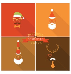 Christmas retro party card - photo booth style vector