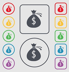 Money bag icon sign symbol on the round and square vector