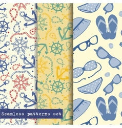 Set of three seamless pattern sea and beach theme vector