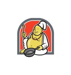 Fat happy buddha chef cook cartoon vector
