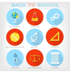 Set of flat-styled icons of school subjects vector
