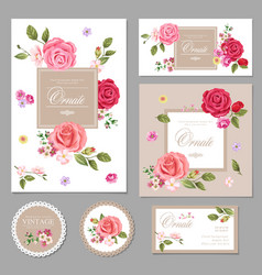 Set of floral vintage cards vector