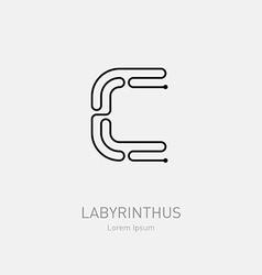 Letter c labyrinth logo template line art rebus vector