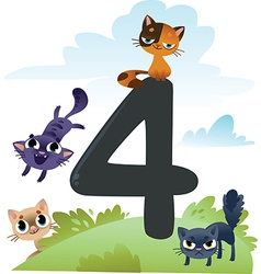 Collection number for kids farm animals - number 4 vector
