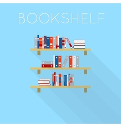 Flat-style design of three bookshelfs with books vector