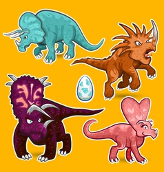 Triceratops rhino dinosaurs sticker collection set vector
