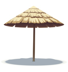 Palm leaf beach umbrella vector