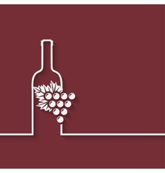 Wine menu with bottle and grapes vector