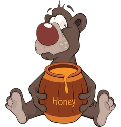 Bear and a wooden keg with honey cartoon vector