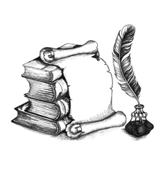Academic and education set books scroll pen vector