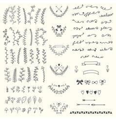 Hand drawn vintage floral elements handsketched vector