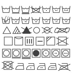 Laundry icons set washing symbol vector
