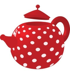 Red with white dots kettle vector