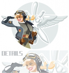 Military retro pin-up vector