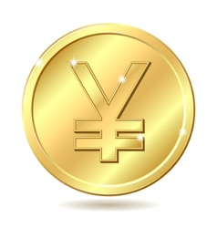 Golden coin yen vector