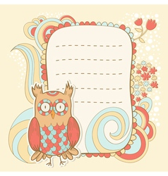 Cute cartoon owl stylish sticker card vector