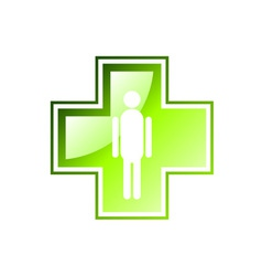 Green cross isolated on the white vector