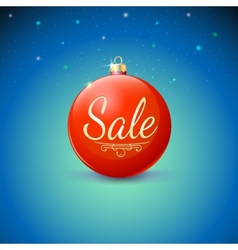 Sale red christmas ball over starry background vector
