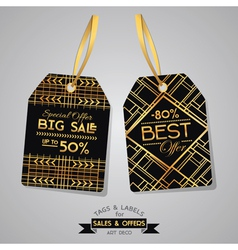 Sale tags and labels - art deco style vector