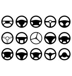 Set of different steering wheels vector