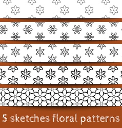 Set of sketches floral patterns vector