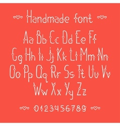 Simple romantic hand drawn font with hearts vector