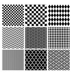 Geometric monochrome seamless background patterns vector